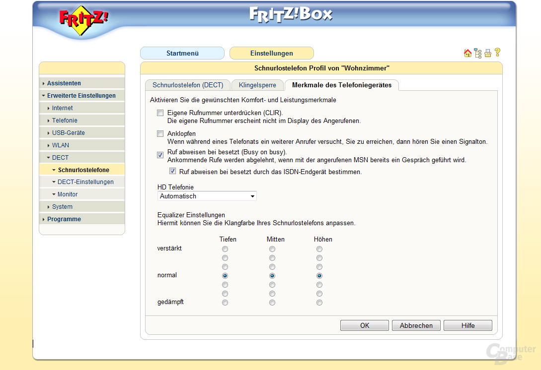 FRITZ!Box-Firmware mit Cat-iq und Equalizer