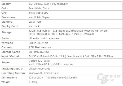 Asus Eee PC 900 Spezifikationen