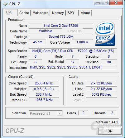 Intel Core 2 Duo E7200 bei 1,008 volt