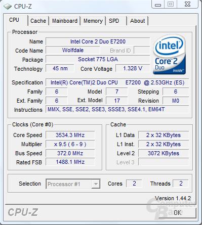 Intel Core 2 Duo E7200 mit 3,53 GHz