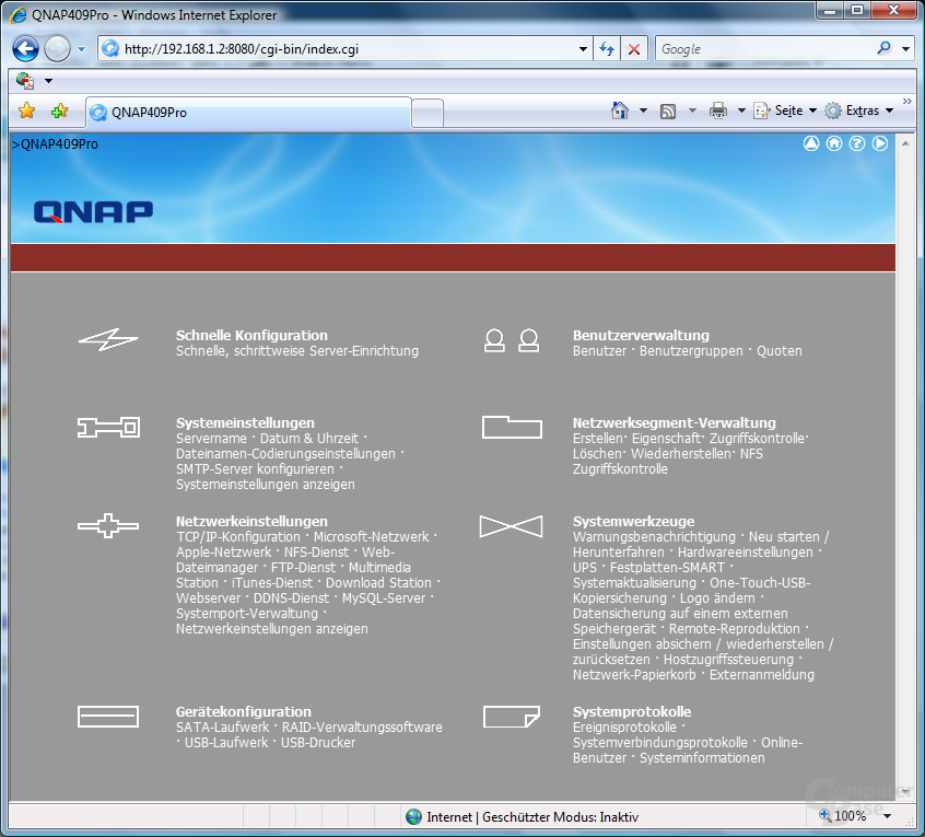 QNAP TS-409 Pro – Web-Interface