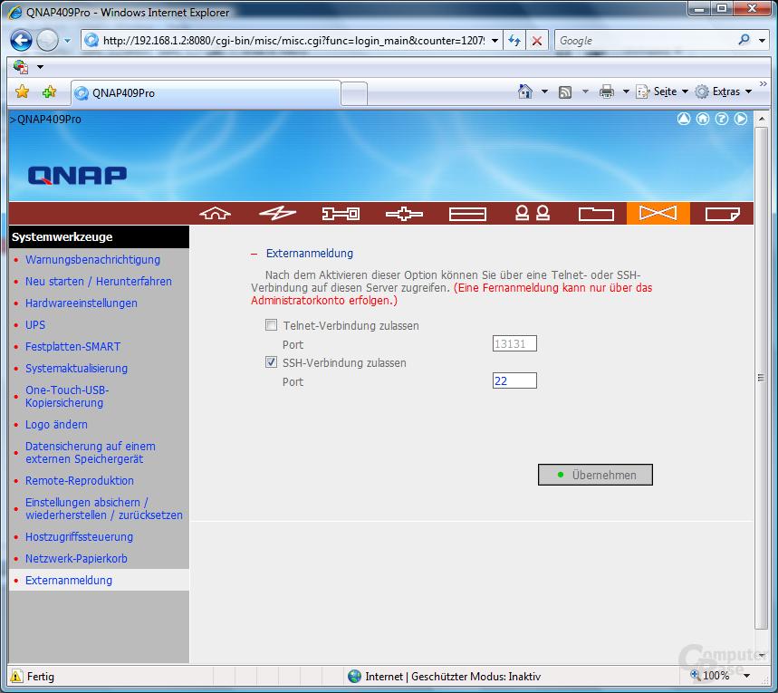 QNAP TS-409 Pro – Web-Interface