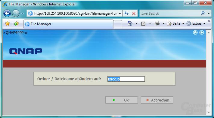 QNAP TS-409 Pro – Web-Dateimanager