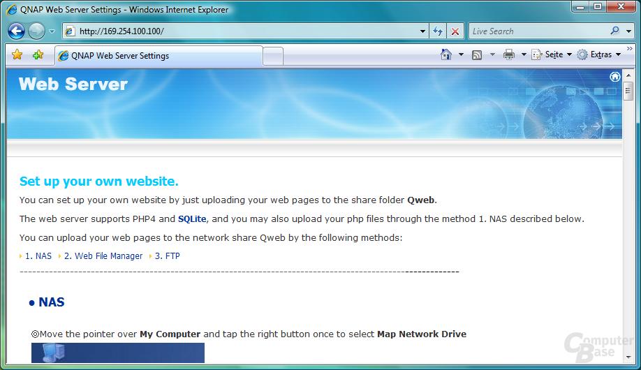 QNAP TS-409 Pro – Webserver