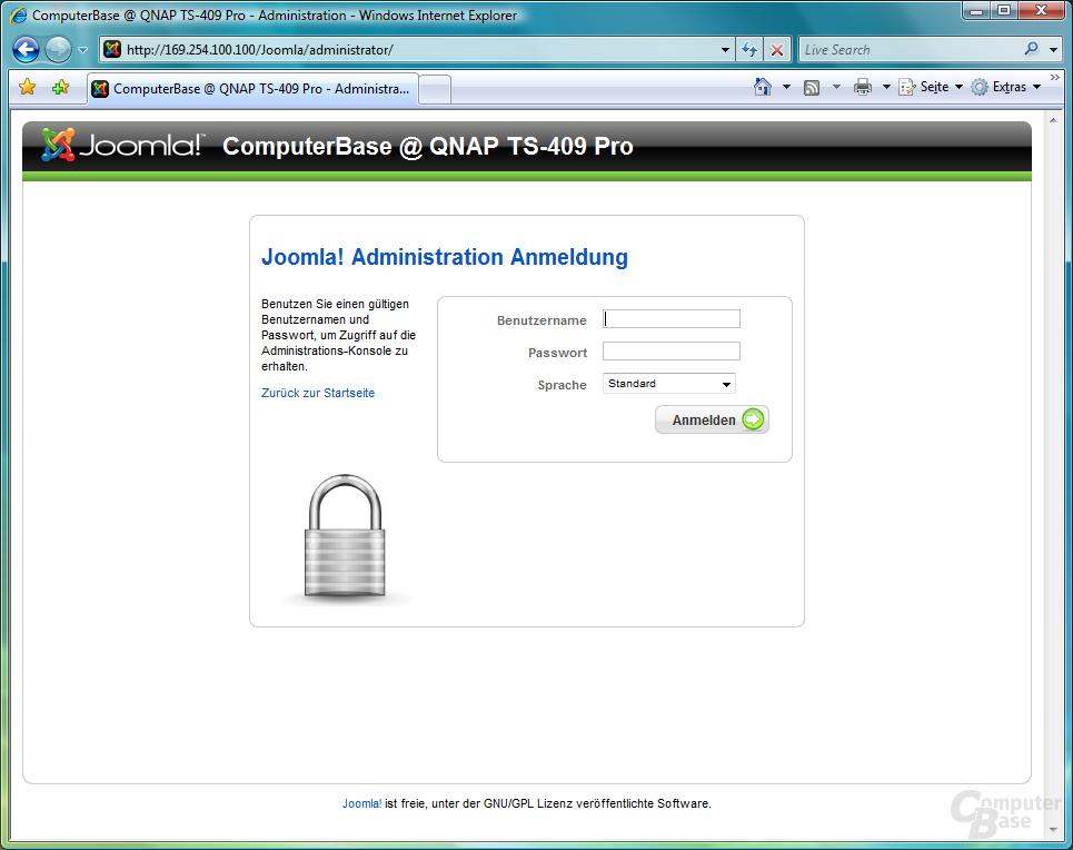 QNAP TS-409 Pro – Webserver – Joomla CMS