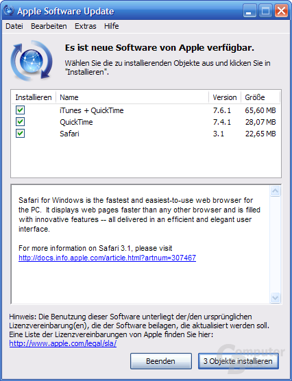 Apple Software Updater in verheriger Variante
