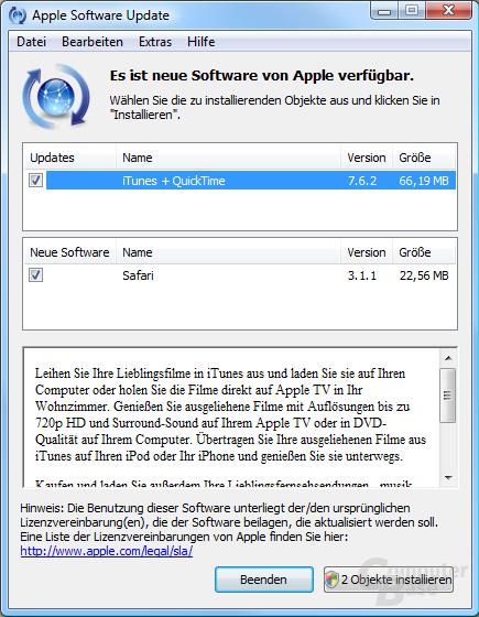 Apple Software Updater in neuer Version