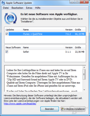 Apple Software Updater in neuer Version