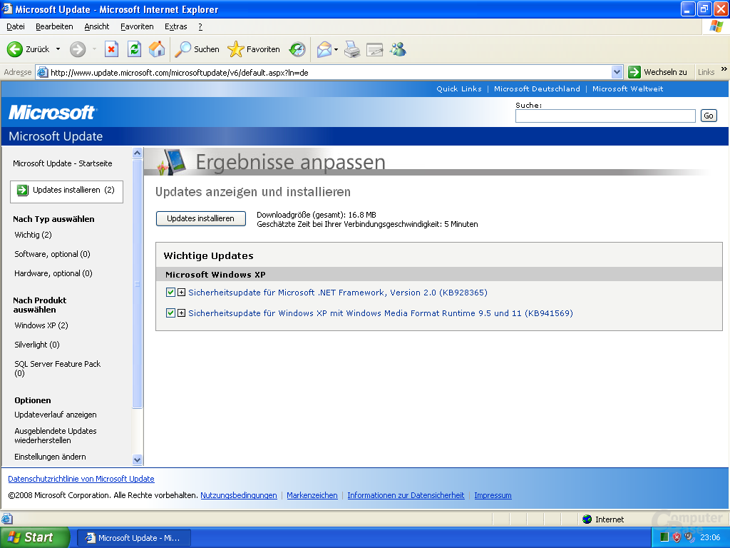 Microsoft Update – 2te Runde
