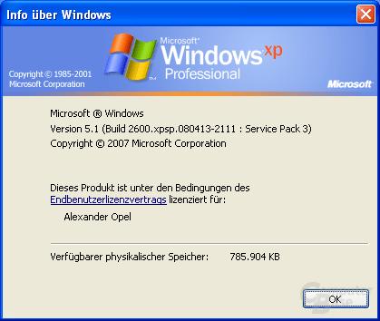 Info über Windows