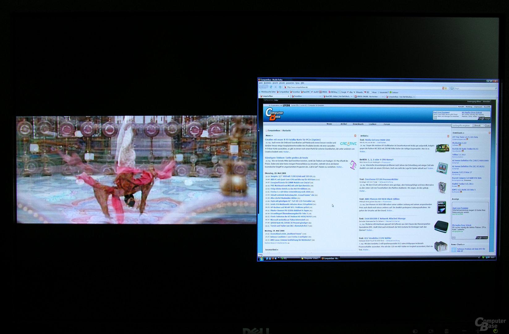 PBP-Modus (S-Video links - DVI rechts)