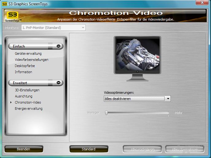 S3 Chrome 400 Treibermenü