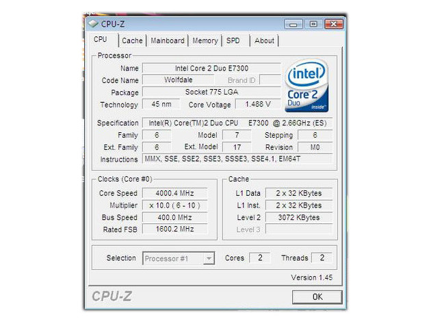 Core 2 Duo E7300 bei 4 GHz