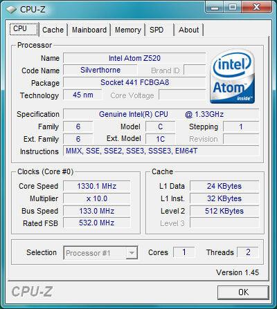 CPU-Z eines Atom 520