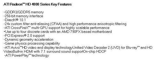 Bisherige Angaben zur Radeon HD4800-Familie