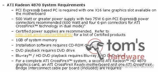 Anforderungen der Radeon HD 4870