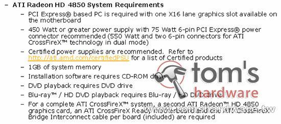 Anforderungen der Radeon HD 4850