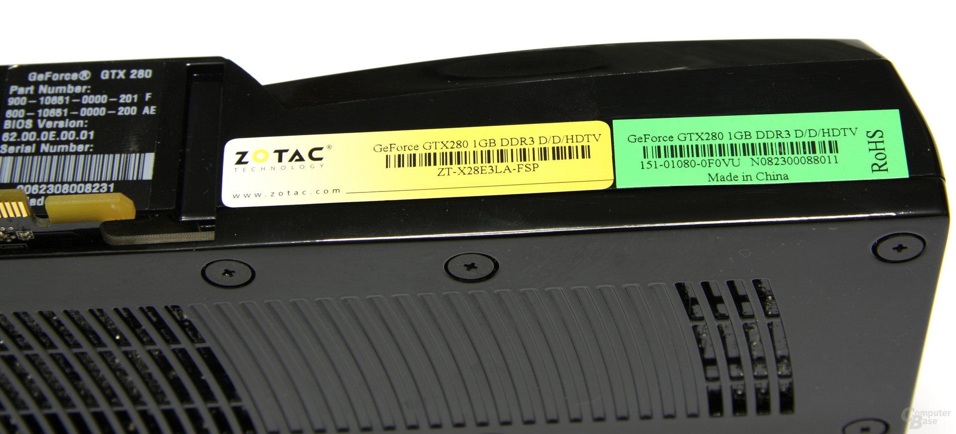 Zotac GeForce GTX 280 Aufkleber