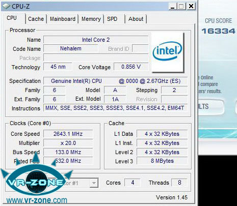 Intel Nehalem Prozessor CPU-Z Screenshot