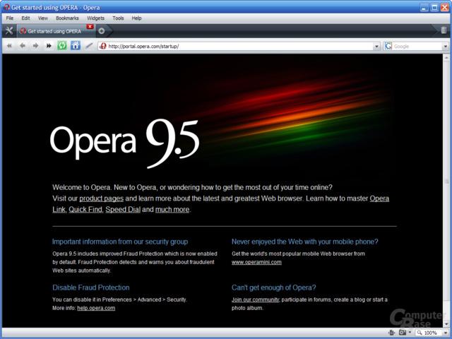 Opera 9.5 – Startseite