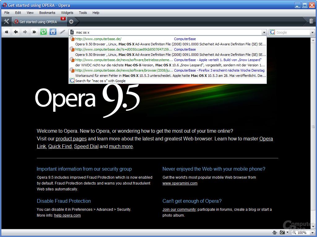 Opera 9.5 – Volltext-Suche