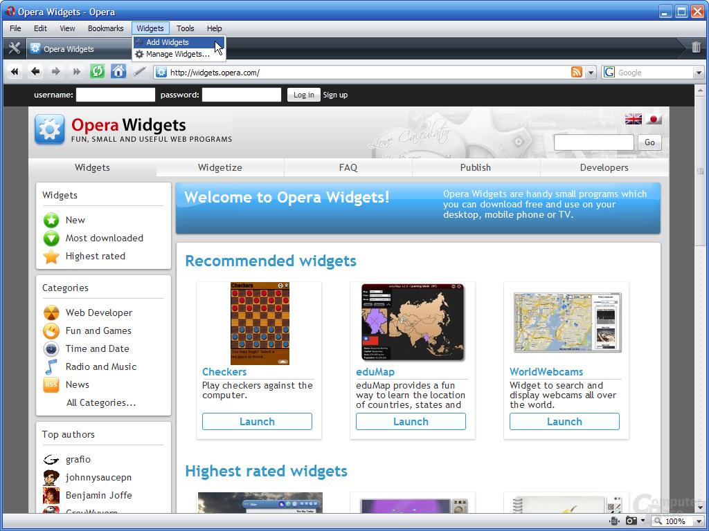 Opera 9.5 – Widget hinzufügen