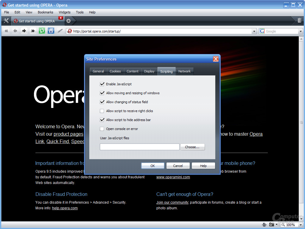 Opera 9.5 – Site Preferences (Scripting)