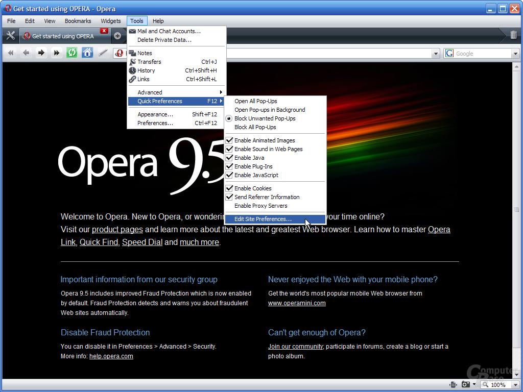 Opera 9.5 – Site Preferences