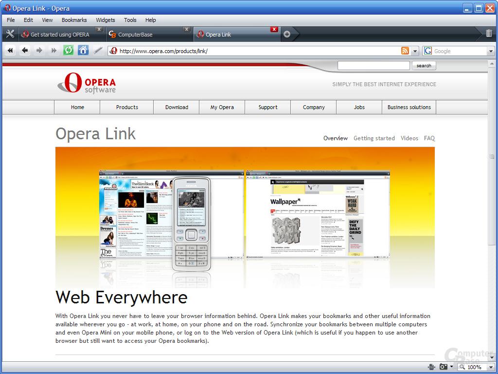 Opera 9.5 – Website Opera Link