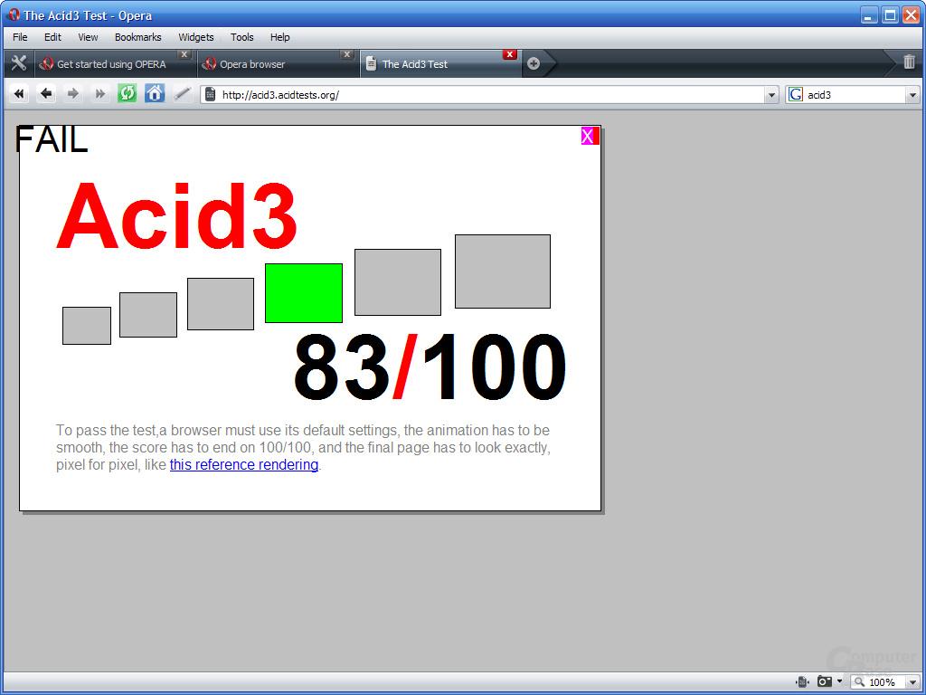 Opera 9.5 – Acid 3