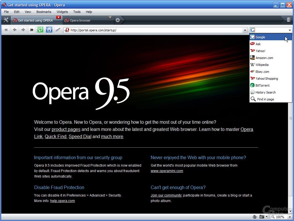 Opera 9.5 – Suchleiste