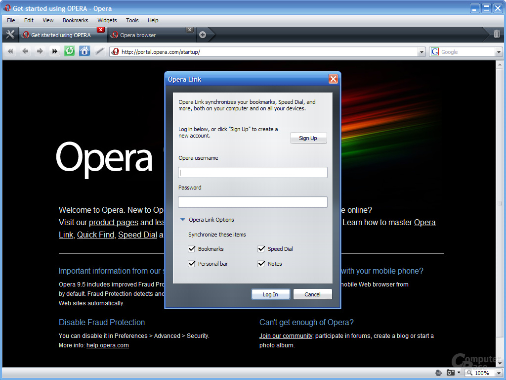 Opera 9.5 – Opera Link