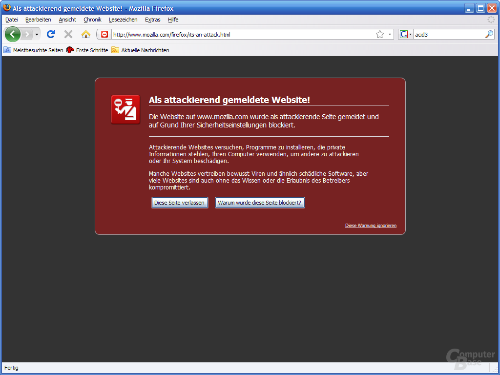 Firefox 3 – Attackierende Website