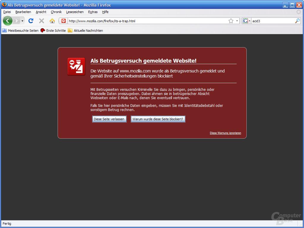 Firefox 3 – Betrugsversuch