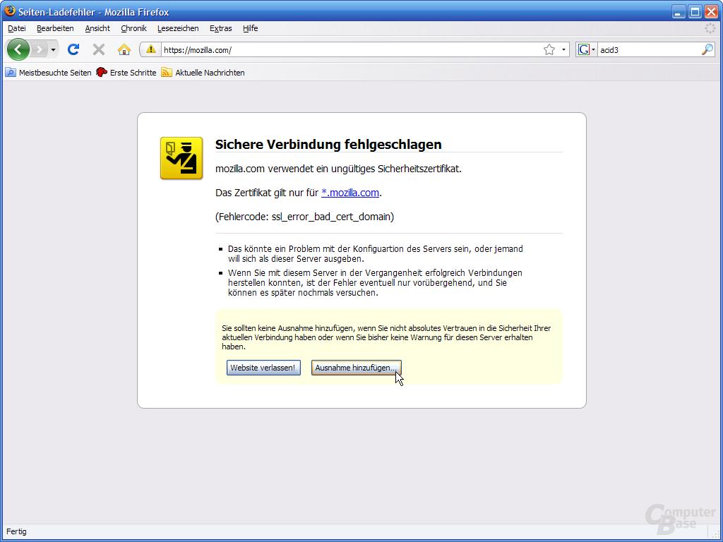 Firefox 3 – Sichere Verbindung fehlgschlagen (1)