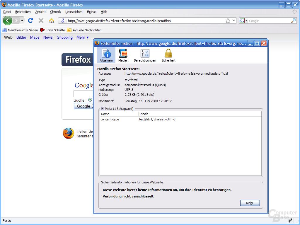 Firefox 3 – Seiteninformation (1)