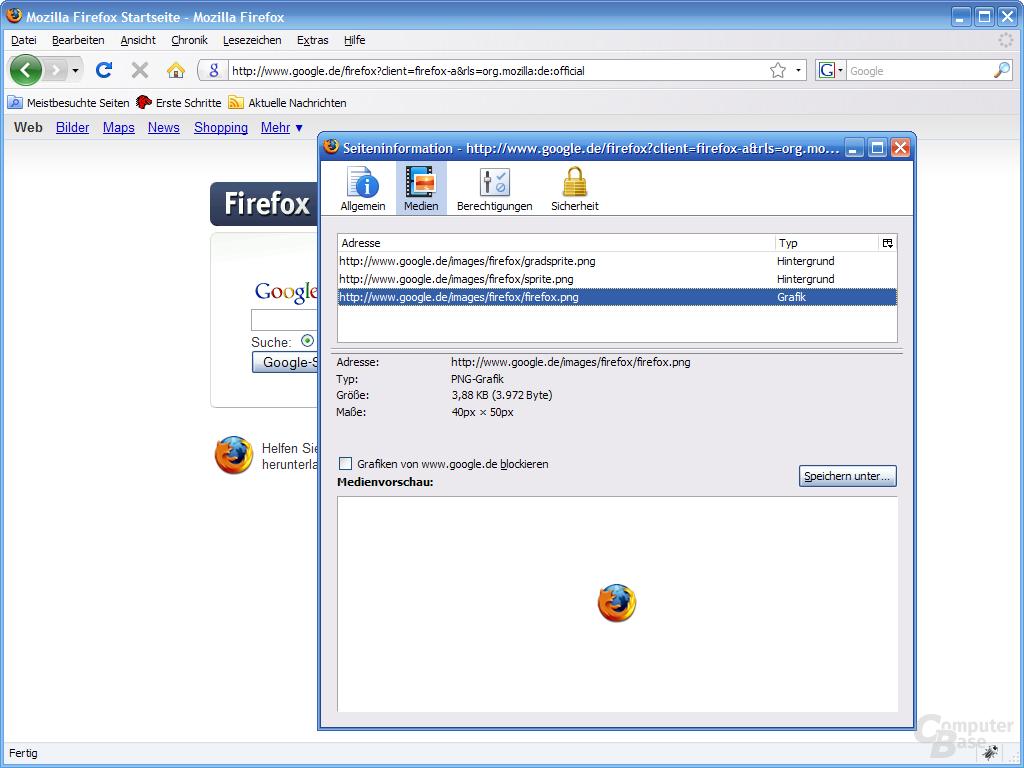 Firefox 3 – Seiteninformation (2)