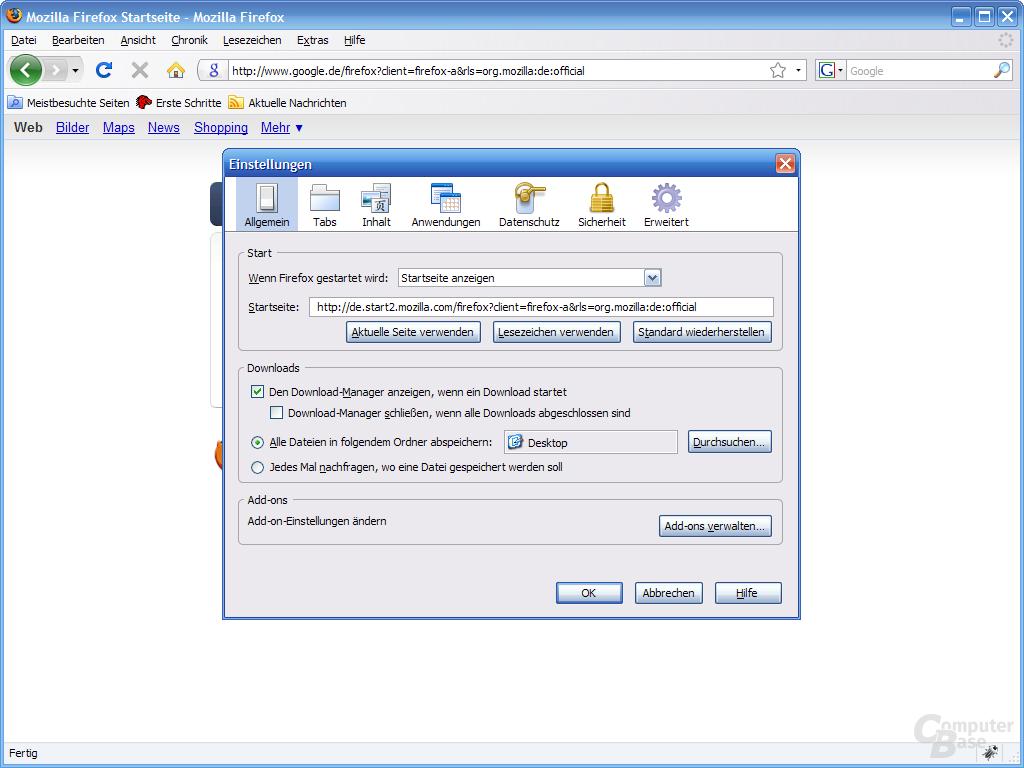Firefox 3 – Einstellungen (1)