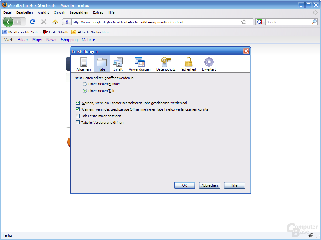 Firefox 3 – Einstellungen (2)