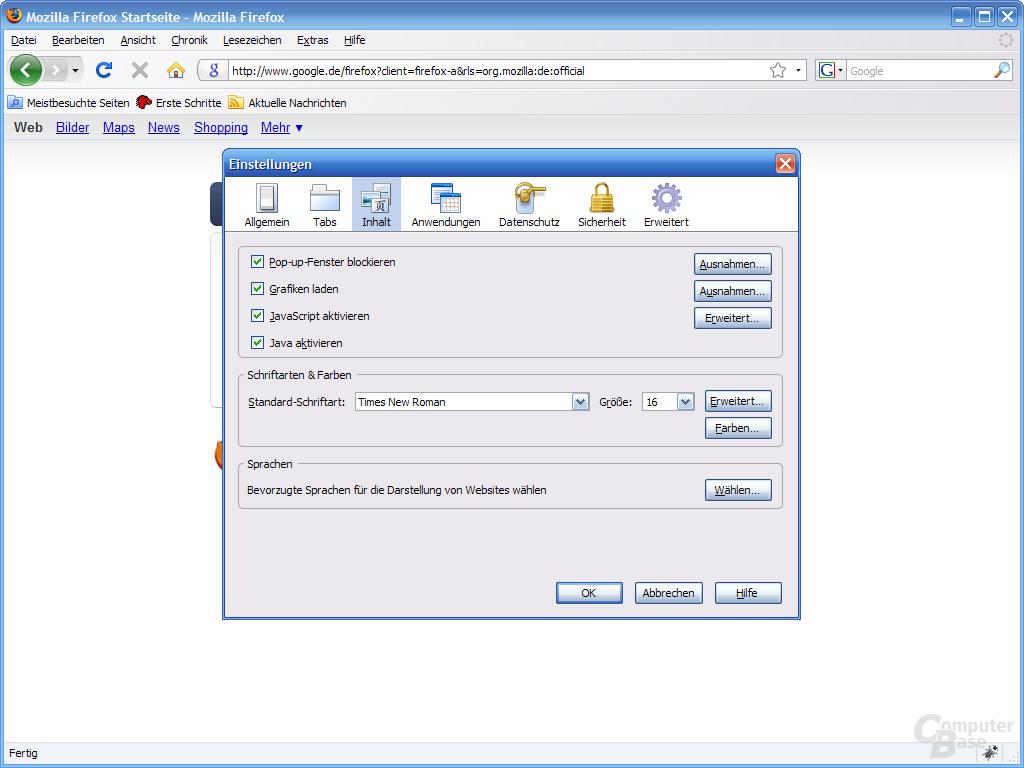 Firefox 3 – Einstellungen (3)