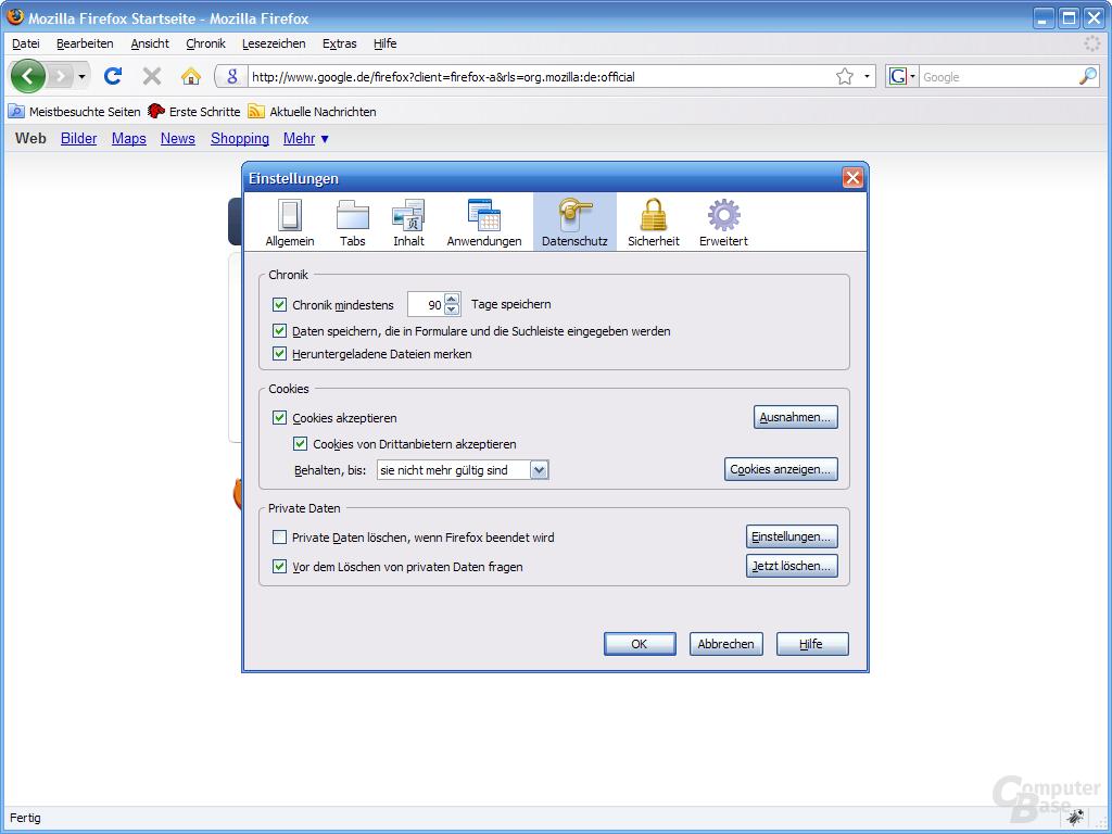 Firefox 3 – Einstellungen (5)