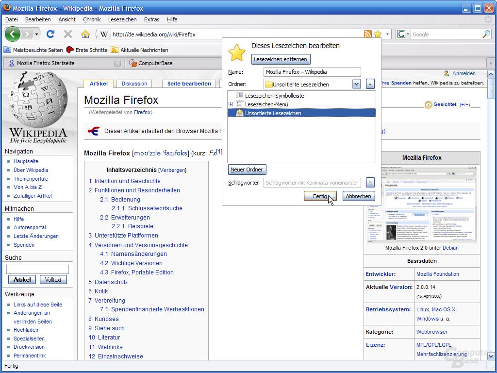 Firefox 3 – Lesezeichen setzen (2)