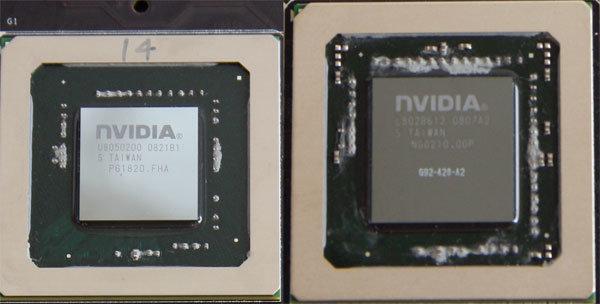 Nvidia G92: 55 nm links, 65 nm rechts