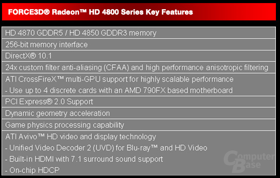 UnbenTechnische Daten Radeon HD 4800 Series