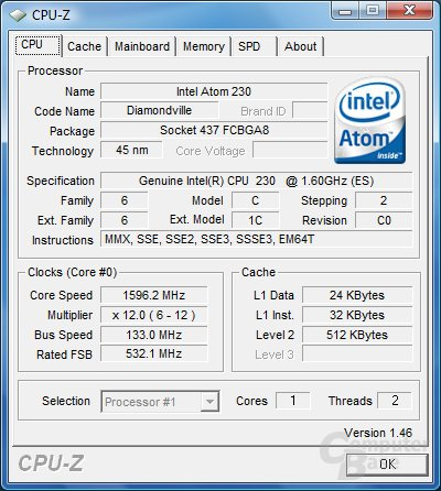 CPU-Z: Intel Atom 230