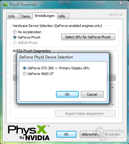 Nvidia Multi-GPU-PhysX