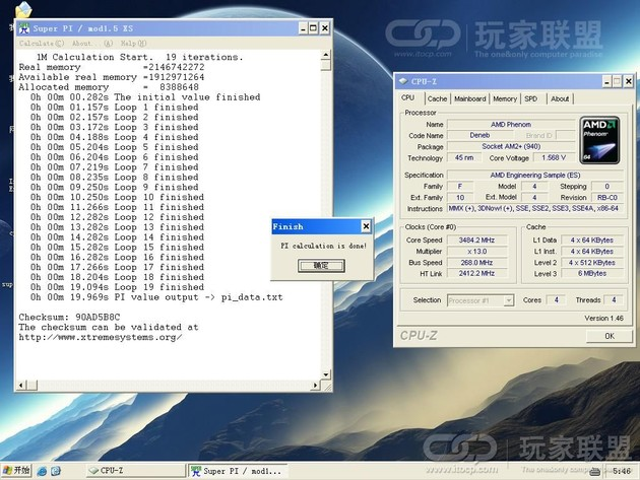 SuperPI bei 3,48 GHz