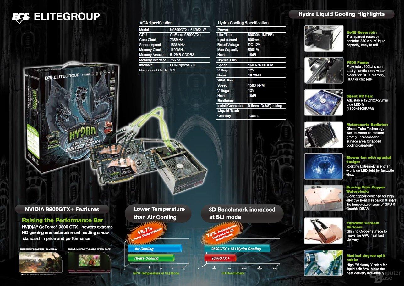 ECS GeForce 9800 GTX+ Hydra SLI