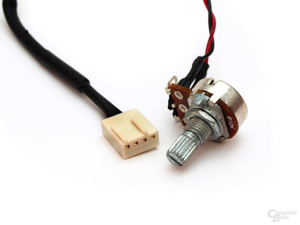 4-Pin-PWM-Anschluss und Drehpoti zur Spannungsregulierung