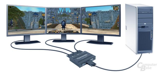 World of Warcraft auf drei Bildschirmen